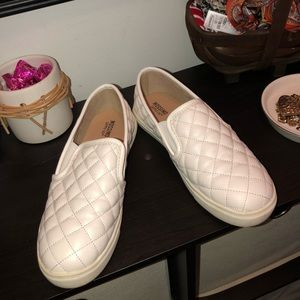 Adorable White Check Loafers